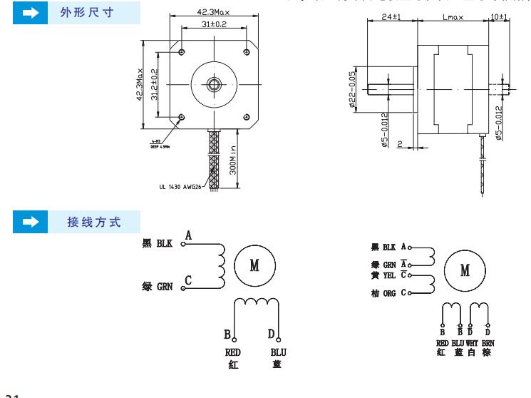 42步进电机尺寸、42步进电机接线图